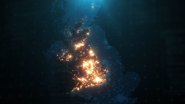 night map of united kingdom with city lights illumination - global communications stock videos & royalty-free footage