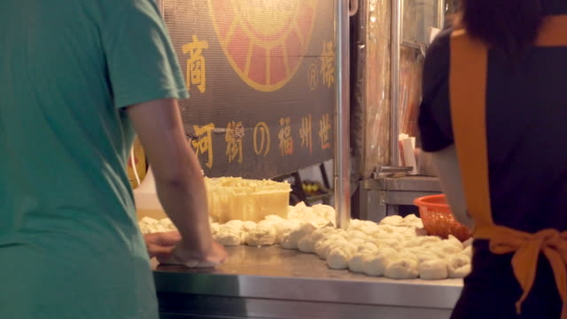 night market dumplings in taiwan - taipei stock videos & royalty-free footage