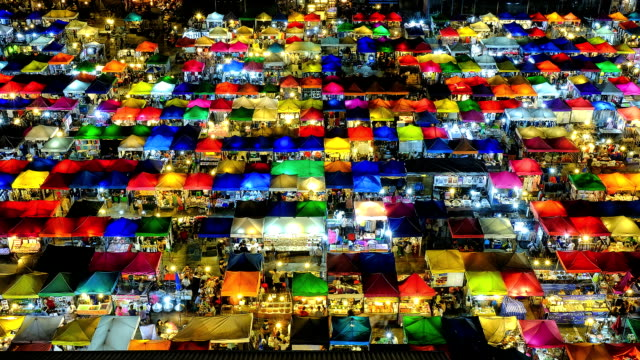 mercato notturno di bangkok, tailandia - video collage video stock e b–roll