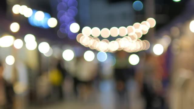 Night Market Out of Focus Circle light Bokeh Background