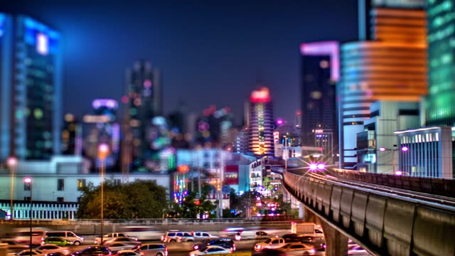 night modern city - bangkok stock videos & royalty-free footage
