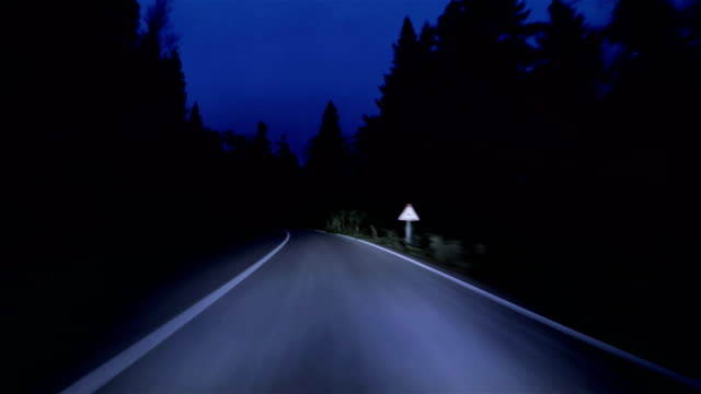 night mountain road - 4k resolution - car point of view stock videos & royalty-free footage