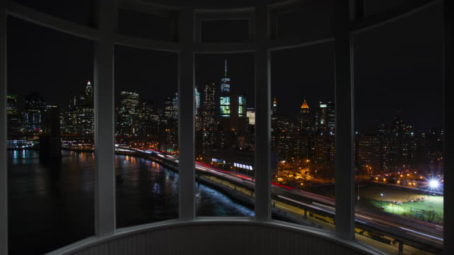 Night New York cityscape time lapse window panorama cityscape Manhattan