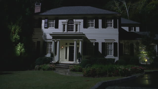 night nice 2-story upper middle class house - grounds stock videos & royalty-free footage