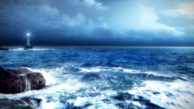 vidéos et rushes de nuit sur l'océan - image contrastée