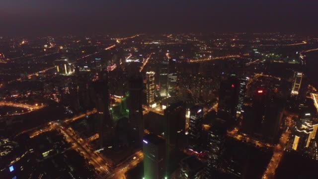 aerial night of the qianjiang new city, hangzhou, china 4k - hangzhou stock videos & royalty-free footage
