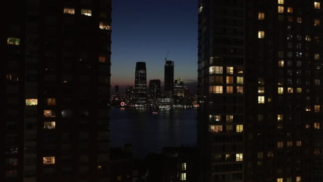 night on new york and jersey city from the window - manhattan stock videos & royalty-free footage
