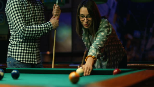 night out - pool game - game night leisure activity stock videos & royalty-free footage