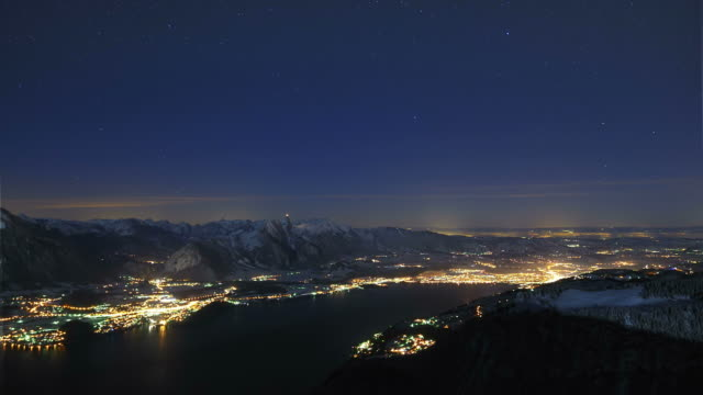night over lake, rising moon lights scene - kleinstadt stock-videos und b-roll-filmmaterial