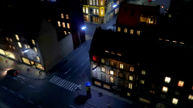 night over streets window zoom - small model town - stock image - small stock videos & royalty-free footage