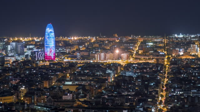 Night panoramic view at Agbar Tower, Barcelona.