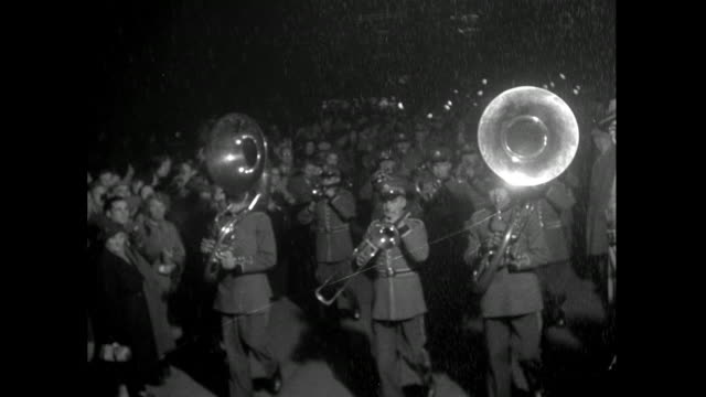 night parade of band and costumed characters; 1953 - parade stock videos & royalty-free footage