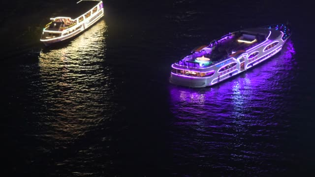 night passenger tourists boat in the chao phraya river - river chao phraya stock videos & royalty-free footage