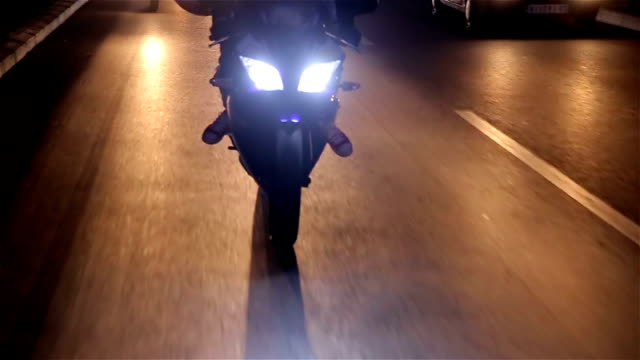 night ride on motorcycle - work helmet stock videos & royalty-free footage