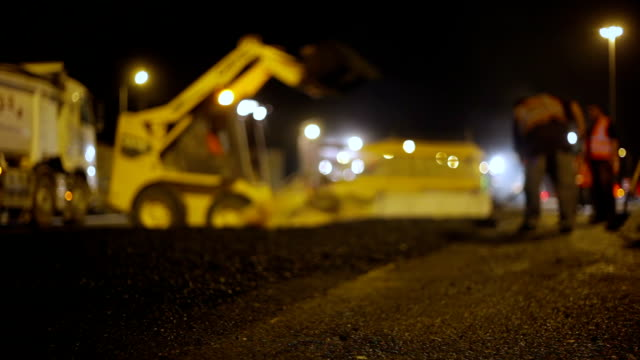 night roadworks on highway - roadworks stock videos & royalty-free footage