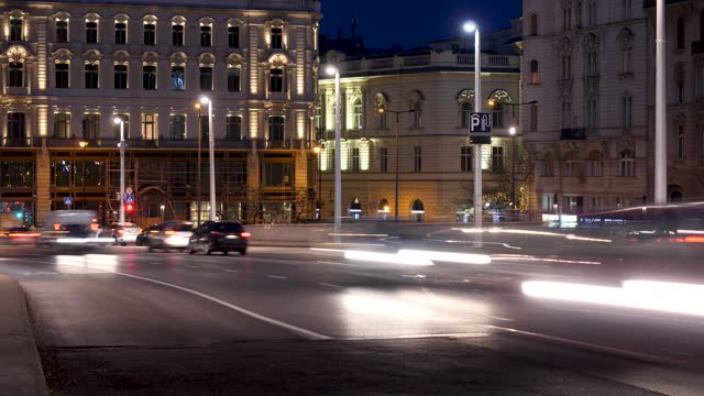 4k night rush hour traffic time lapse in european city centre, budapest hungary. - hungary stock videos & royalty-free footage