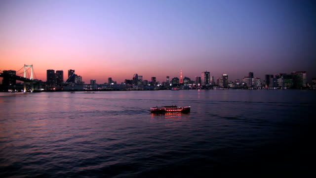 night scene in tokyo bay, japan - tokyo bay stock videos and b-roll footage