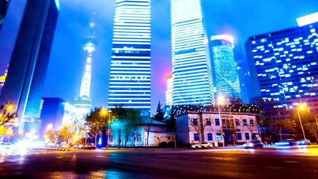 night scene of shanghai,timelapse