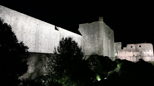 Night scene of the fortifications of Dubrovnik
