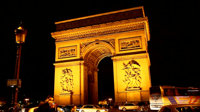 Night scenery of Arc de Triomphe in Paris
