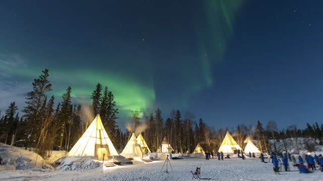 Night scenery of aurora polaris and teepees