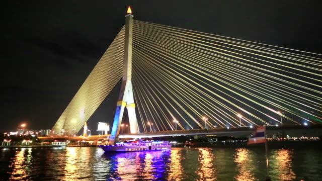 night scenery of chao phraya river and tourboat - tourboat stock videos and b-roll footage