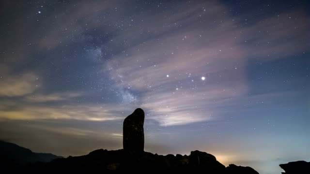 Night scenery of 	Chirisan National Park with memorial stone at Manbokdae peak behind milky way