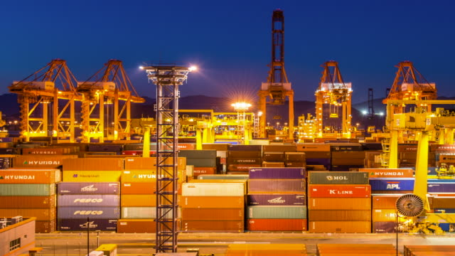 Night scenery of crane and cargo container at Sinhangman (One of the famous harbor in korea)