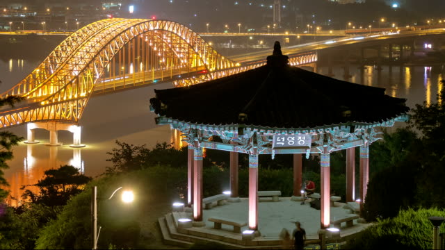 stockvideo's en b-roll-footage met night scenery of deokyangjeong gazebo at haengjusanseong fortress - gazebo