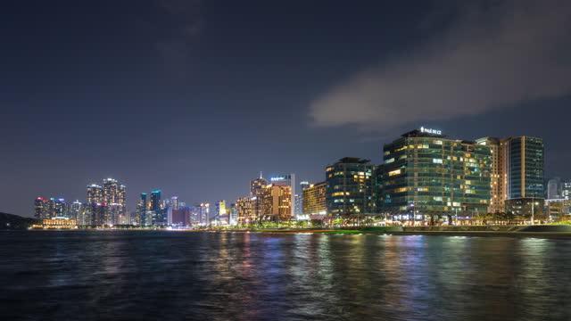 night scenery of downtown around marine city and haeundae beach / haeundae-gu, busan, south korea - general motors stock videos & royalty-free footage