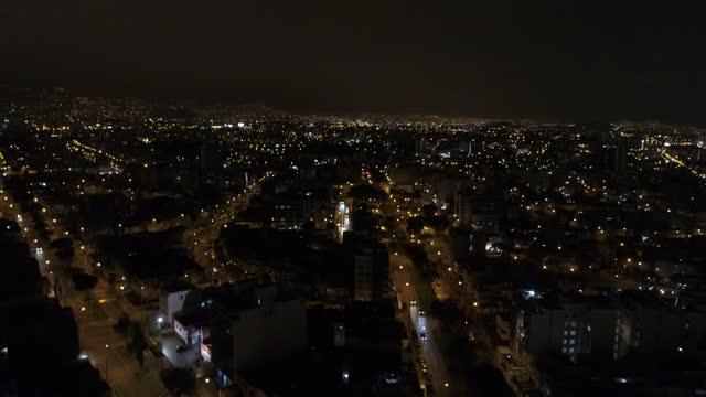 night scenery of downtown at south america / peru - orizzonte su terra video stock e b–roll