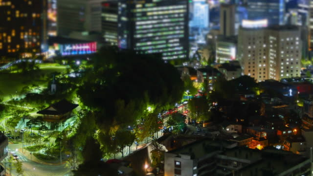 Night scenery of downtown district in figurine of the Myeong Dong area