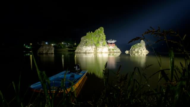 night scenery of gazebo at dodamsambong (dodam three hills) - gazebo stock videos & royalty-free footage