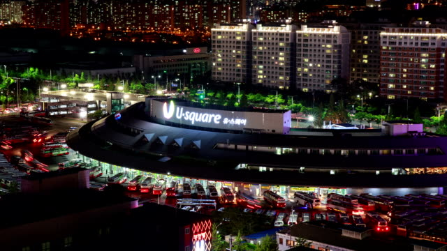 night scenery of gwangju central bus terminal - orthographic symbol stock videos and b-roll footage