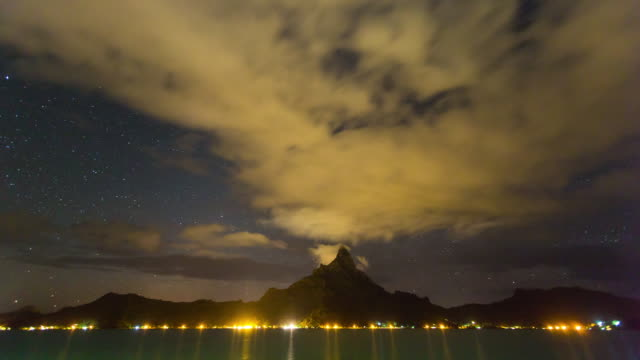 Night scenery of Mt Otemanu and seascape