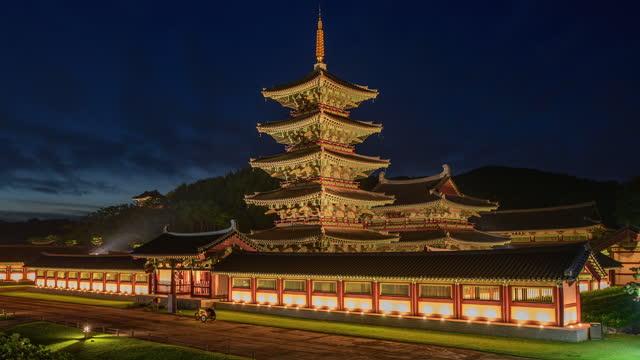 night scenery of neungsa five-storied wooden pagoda in baekje cultural heritage complex / buyeo-gun, chungcheongnam-do, south korea - pagoda stock videos & royalty-free footage