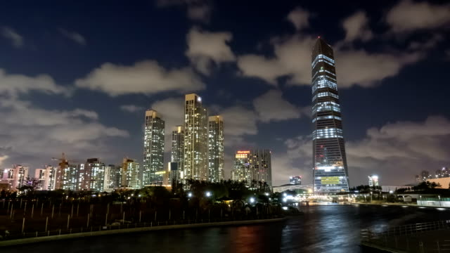 Night scenery of Northeast Asia Trade Tower at  Songdo New City