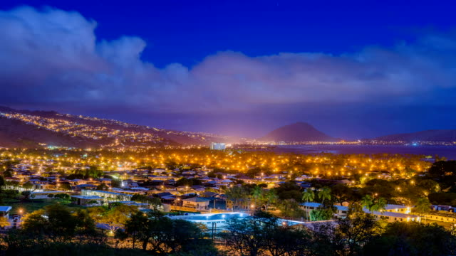 night scenery of oahu island - oahu stock videos & royalty-free footage