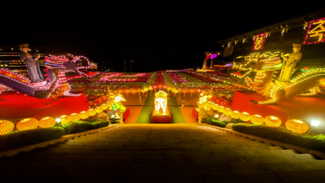 night scenery of samgwangsa temple on buddha's birthday - buddha's birthday stock videos and b-roll footage