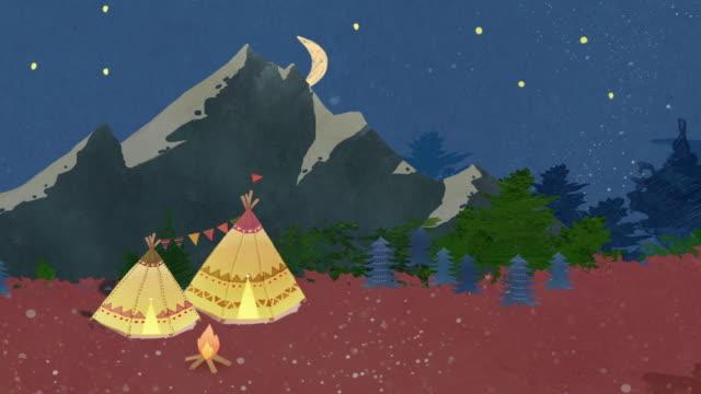 vídeos y material grabado en eventos de stock de night scenery of tent and campfire in mountain - gráficos de movimiento
