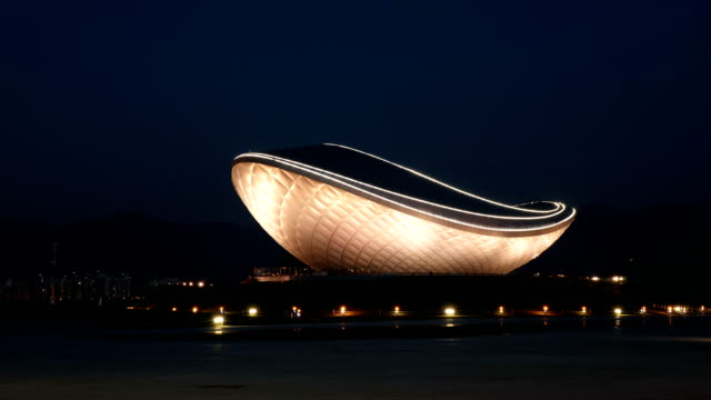 night scenery of 'the arc' cultural exhibit center at gangjeonggoryeongbo dammed pool - daegu stock videos and b-roll footage