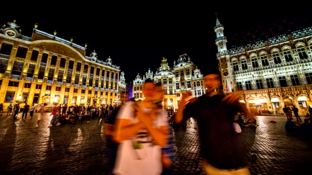 Night Scenery of tourists and Grand Place at Brussels