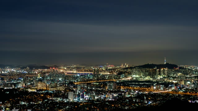 Night Scenery view of cityscape of Seoul City and N Seoul Tower (Famous tourist destination) in distance