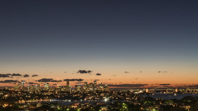 night scenery view of cityscape of sydney in distant - sydney stock videos & royalty-free footage