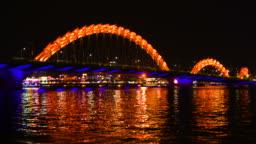 Night Scenery view of dragon bridge in Danang,Vietnam