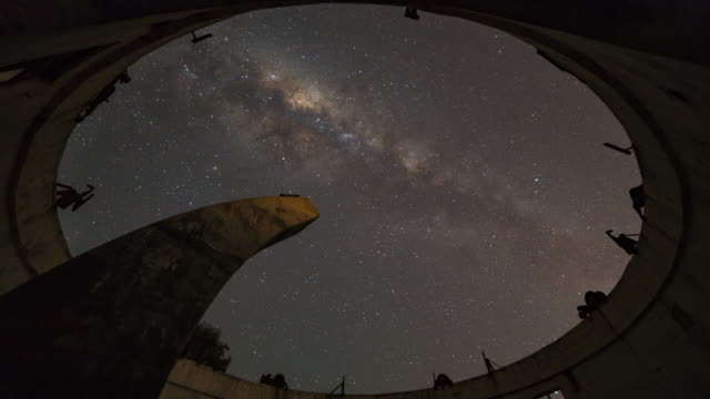 night scenery view of milky way and starfield over observatory - galaxy stock videos & royalty-free footage