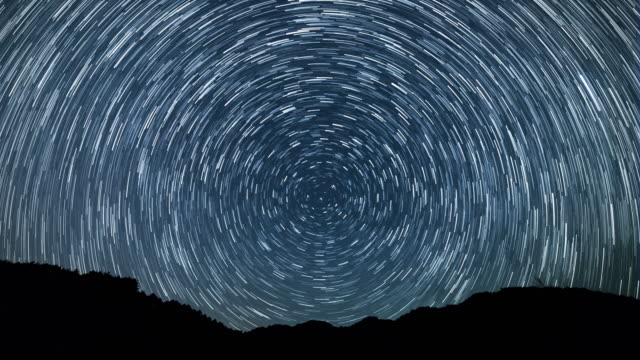 night scenery view of star field and the plough making a swirl - star trail stock videos & royalty-free footage