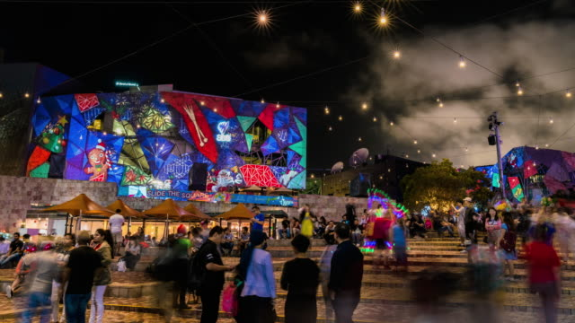 Night Scenery view of tourist enjoying visual lighting show at Federation Square
