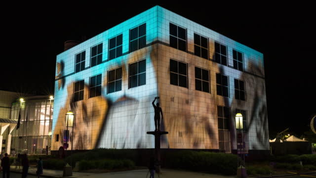 night scenery view of visual lighting show on building exterior - canberra stock videos and b-roll footage
