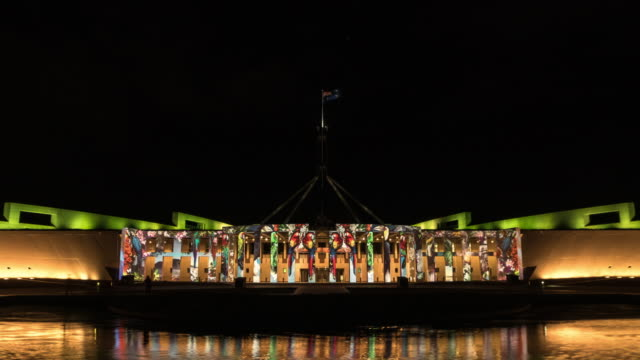 night scenery view of visual lighting show on parliament square - canberra stock videos & royalty-free footage
